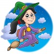 Cute witch on broom - Stock Photo