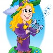 Cute witch with lyre — Stock Photo