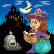 Cute witch with potion and mansion — Stock Photo