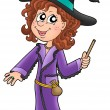 Cute witch with wand — Foto de Stock