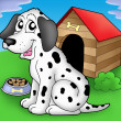 Royalty-Free Stock Photo: Dalmatian dog in front of kennel