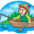 Fisherman in boat with trees — Stock Photo