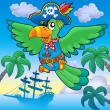 Flying pirate parrot with boat — Stock Photo
