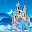 Frozen castle in winter landscape — Stock Photo
