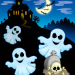 Ghosts with haunted house - Stock Photo