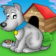 Stock Photo: Grey dog in front of kennel