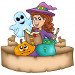 Halloween banner with characters — Stock Photo