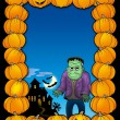 Halloween frame with Frankenstein - Stock Photo