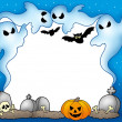 Foto de Stock  : Halloween frame with ghosts 2