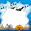 Stock Photo: Halloween frame with ghosts 2