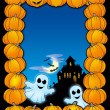 Halloween frame with ghosts - Stock Photo