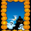 Stock Photo: Halloween frame with ghosts