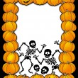 Stock Photo: Halloween frame with skeletons