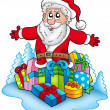 Stock Photo: Happy SantClaus with pile of gifts