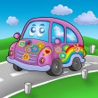 Stock Photo: Hippie car on road