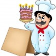 Chef holding cake with wooden table — Stock Photo