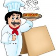 Chef holding pizza with table — Stock Photo #2941097