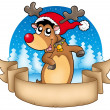 Christmas banner with cute reindeer - Stockfoto