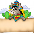 Mexican donkey holding parchment — Stock Photo