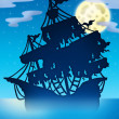 Mysterious ship silhouette at night — Stock Photo