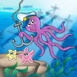 Octopus with anchor and starfishes — Stock Photo