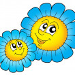 Pair of smilling blue flowers — Stock Photo