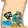 Parchment with pirate holding flag - Stock Photo