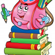 Pink school bag on books — Stock Photo