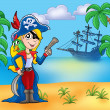 Pirate girl on beach 2 - Stock Photo