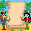 Pirate girls with scroll 1 — Stock Photo
