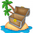 Pirate island with open chest — Stock Photo