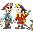 Stock Photo: Pirate kids with duck and treasure
