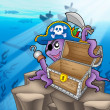 Pirate octopus with chest in sea — Stock Photo