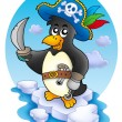 Pirate penguin on iceberg — Stock Photo #2942157
