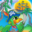 Pirate parrot with boat — Stock Photo #2942158