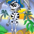 Stock Photo: Pirate skeleton with sabre and treasure