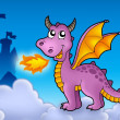 Purple dragon with castle — Stock Photo