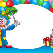 Round frame with clown and balloons — Stock Photo #2942323
