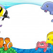 Round frame with tropical fishes — Stock Photo