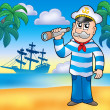 Sailor with spyglass on beach — Stock Photo