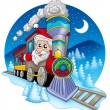 Santa Claus in train — Stock Photo