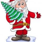 Santa with Christmas tree on iceberg — Stock Photo #2942391
