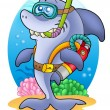 Shark scuba diver on sea bottom - Stock Photo