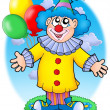 Stock Photo: Smiling clown with balloons