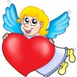 Stock Photo: Smiling cupid with heart