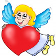 Smiling cupid with heart — Stock Photo