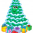 Stock Photo: Snowy Christmas tree with gifts