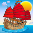 Traditional Chinese ship with sunset — Foto de Stock