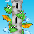 Royalty-Free Stock Photo: Three headed dragon on sky