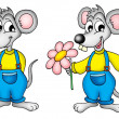 Two mouses with flower — Foto Stock